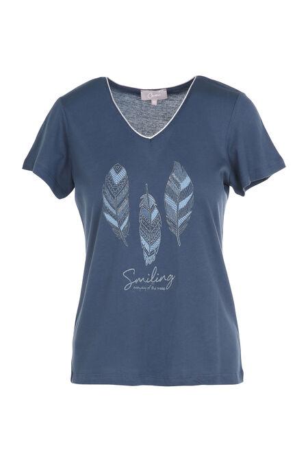 T-shirt met print van 3 pluimen - Leisteen