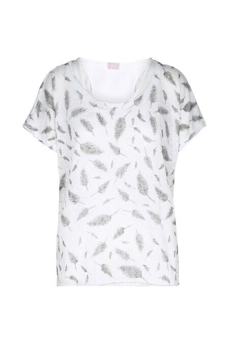T-shirt 2 en 1 imprimé plumes - Ecru