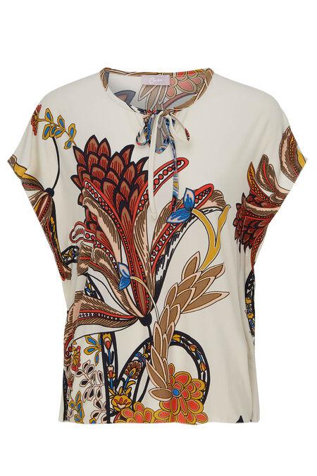 T-shirt met cape-effect en print - Mosterdgeel