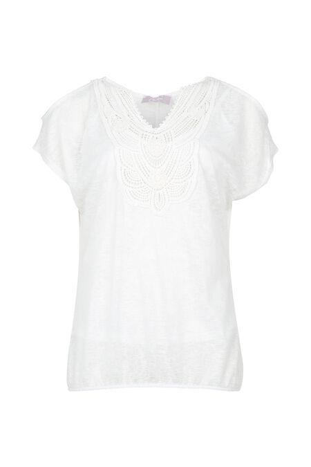 T-shirt met frontje aan de hals - Ecru