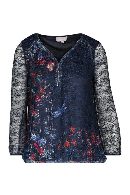 T-shirt met print en strassteentjes - Marineblauw