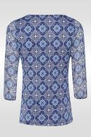 T-shirt in twee stoffen, Blauw