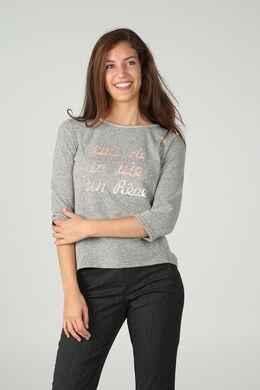 Sweater met fluwelen print, Grijs