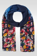 Grand foulard imprimé de fleurs, Marine