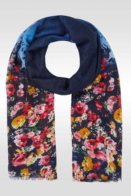 Grote foulard met bloemenprint - Marineblauw