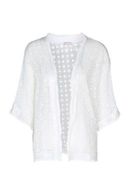 Kimonojasje geborduurd met lovertjes, Ecru