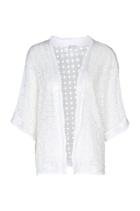Kimonojasje geborduurd met lovertjes - Ecru