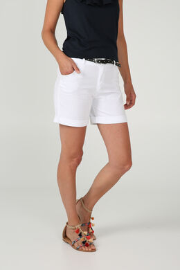 Short en coton avec une ceinture, Blanc