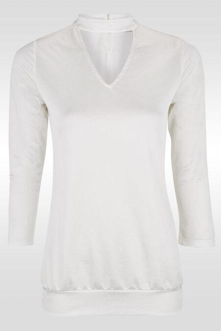 T-shirt met ingewerkte chokerkraag - Ecru