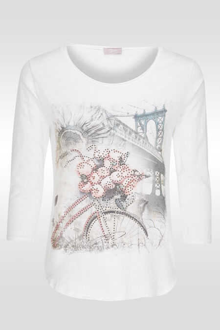 T-shirt imprimé strass - Blanc