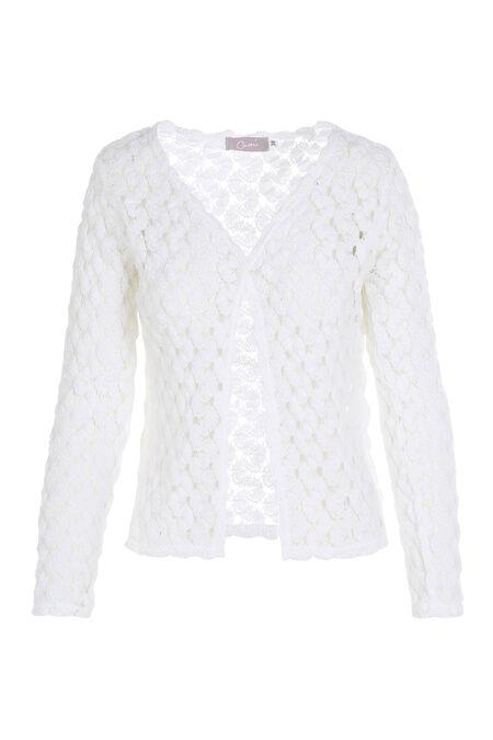 Cardigan en maille crochet - Blanc