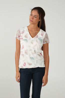 T-shirt en dentelle imprimé, Ecru