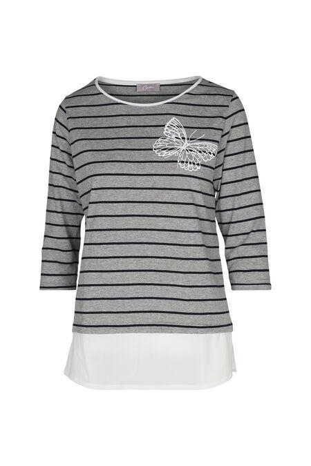T-shirt marinière - Gris Chine