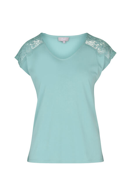 T-shirt avec empiècements en dentelle - aqua