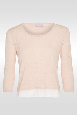 T-shirt met kleine studs in hemdstijl, huidskleur