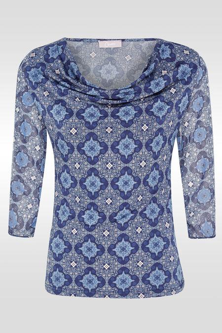 T-shirt in twee stoffen - Blauw