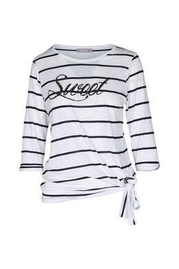 "T-shirt marinière imprimé ""Sweet"", Marine"