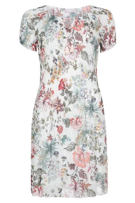 Robe plissée imprimé de fleurs - Ecru