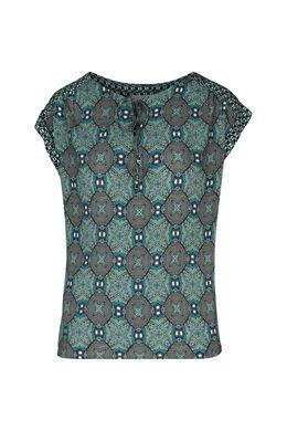 Bloes met wasprint, Turquoise