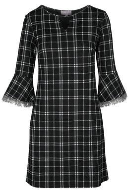 Geruite jurk, Zwart/Ecru
