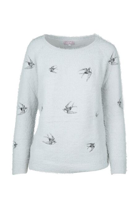 Pull brodé de colibris - Gris perle