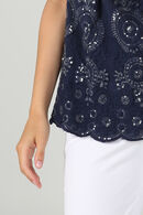 Top broderies et sequins, Marine