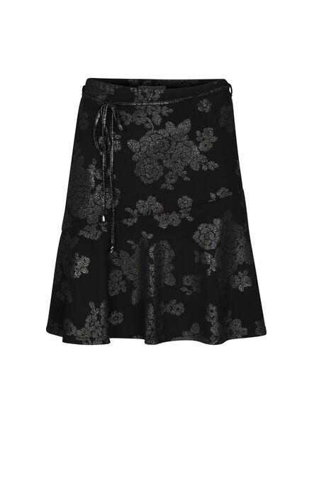 Uitlopende rok in tricot - Zwart