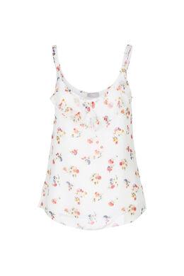 Top met dunne schouderbandjes en bloemen, Ecru