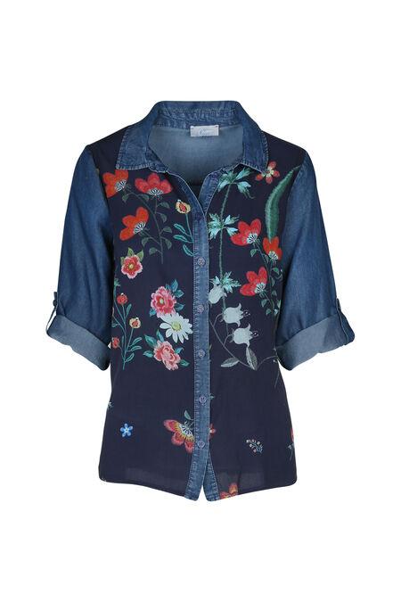 Soepele bloes met bloemenprint - Denim