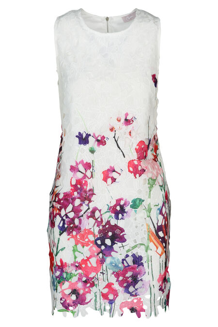Robe en guipure imprimé de fleurs - multicolor