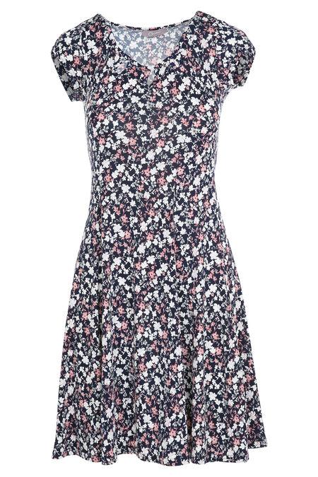 robe évasée imprimé fleuri - Marine