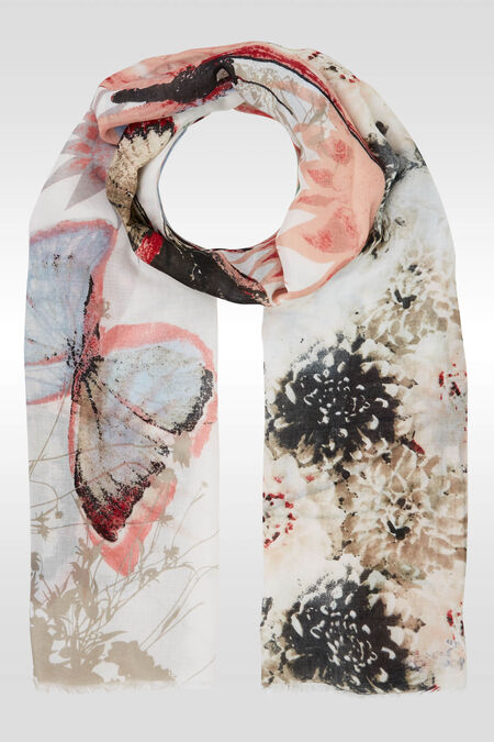 Foulard imprimé grands papillons - Framboise