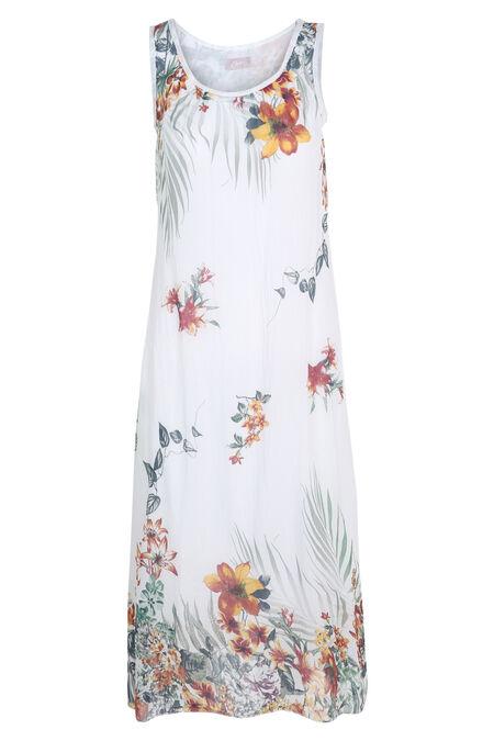 Robe longue imprimé fleuri - Blanc