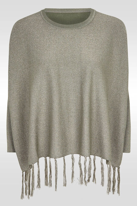 Ruime trui met franjes onderaan - Kaki