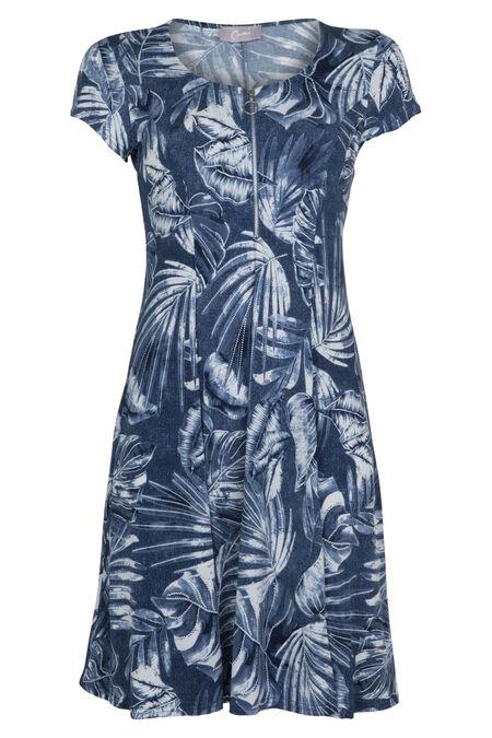 Jurk met palmenprint - Marineblauw