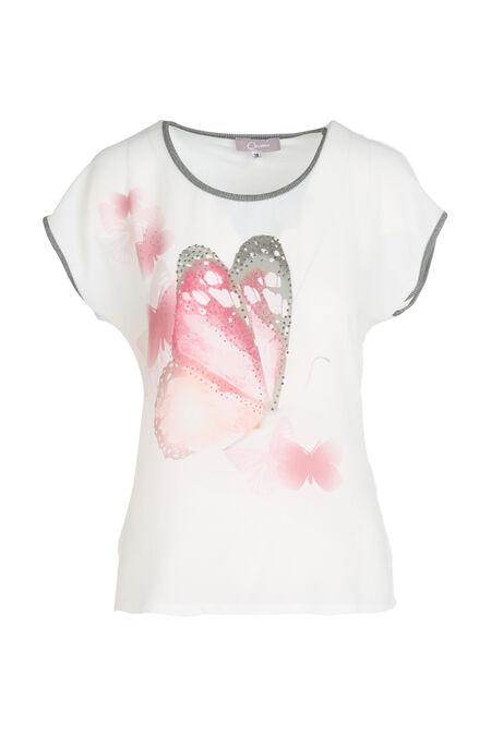 t-shirt bi-matières imprimé papillons et clous - Ecru