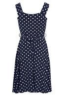 Soepele jurk met stippen, Marineblauw