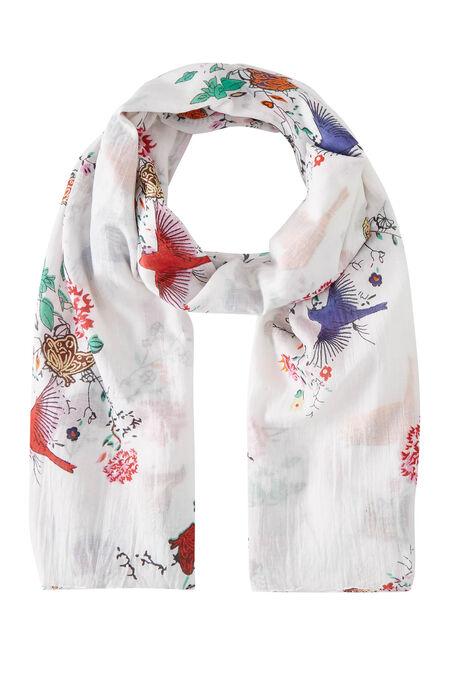 Foulard oiseaux papillons et fleurs - Blanc