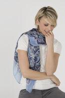 Zijden sjaaltje met paisleyprint, Blauw