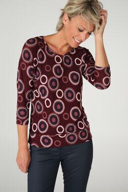 T-shirt in bedrukt, warm tricot, Pruim
