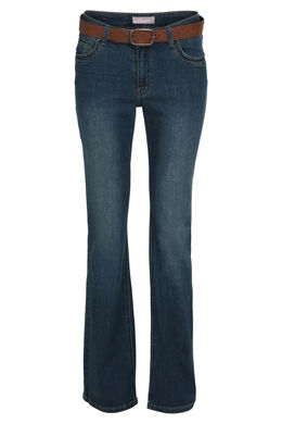 Bootcut jeans met riem, Donker denim