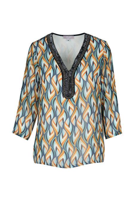 blouse imprimée - Ciel