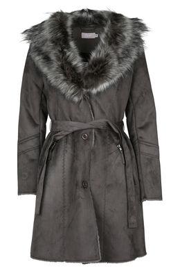 Lange mantel in imitatiehuid, Bruin