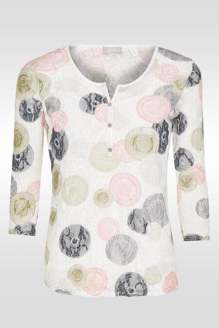 T-shirt 2 en 1 en dentelle imprimée - Ecru