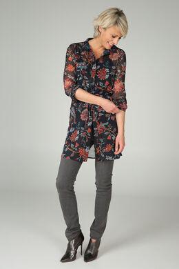 Lange tuniek met bloemenprint, Marineblauw