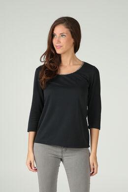 T-shirt met geborduurde halskralen, Zwart