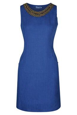 Robe en lin encolure bijou, Bleu royal