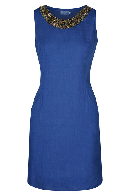 Robe en lin encolure bijou - Bleu royal