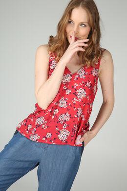 Top met dunne schouderbandjes en bloemenprint, Rood