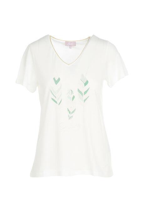 T-shirt met print van 3 pluimen - Ecru